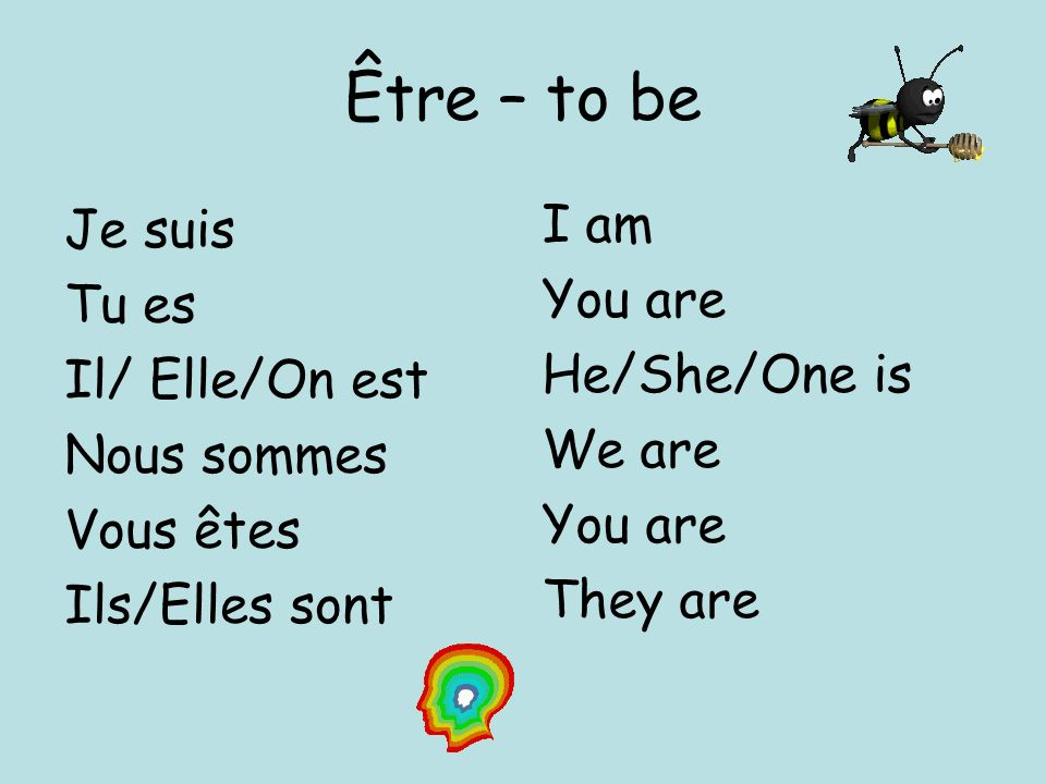 Être – to be I am Je suis You are Tu es He/She/One is Il/ Elle/On est