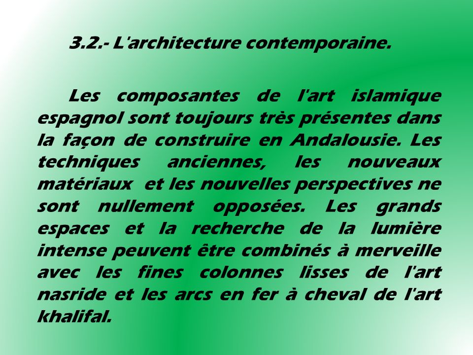 3.2.- L architecture contemporaine.