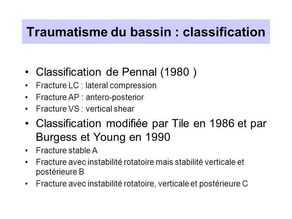 Traumatisme du bassin : classification
