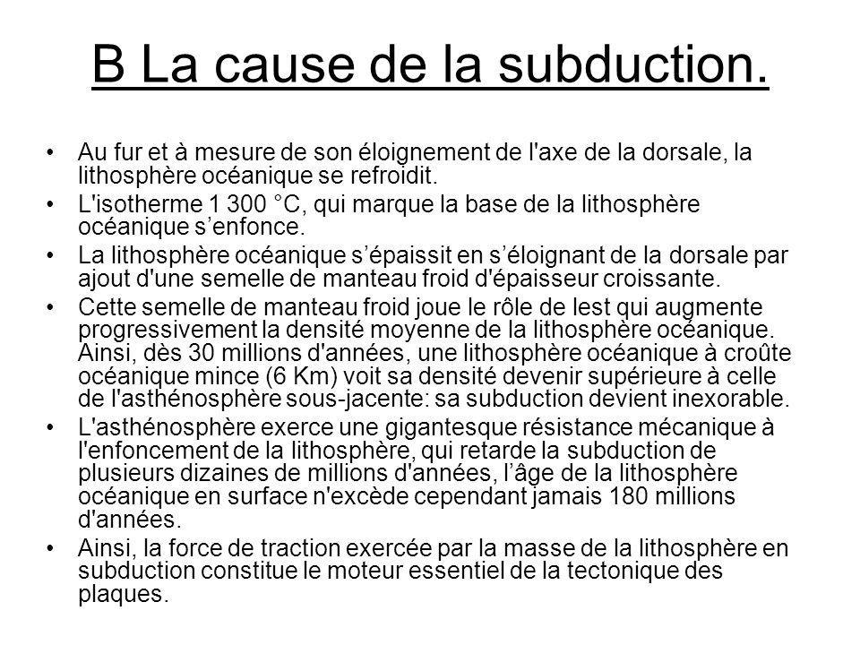 B La cause de la subduction.