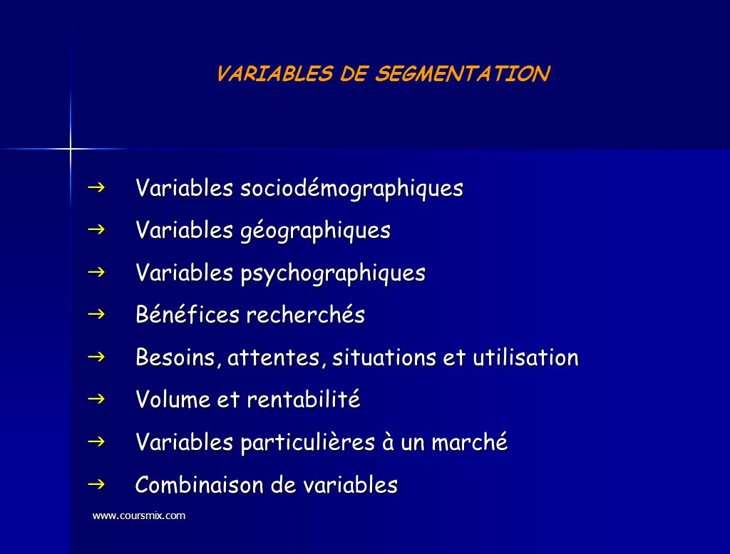 VARIABLES DE SEGMENTATION