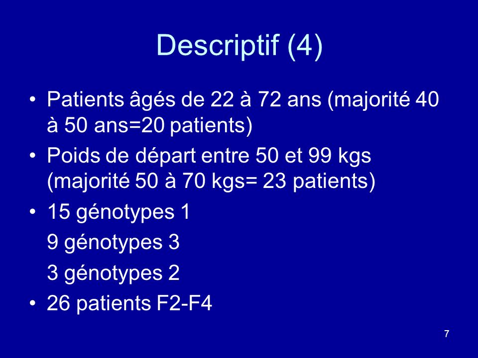 Descriptif (4) Patients âgés de 22 à 72 ans (majorité 40 à 50 ans=20 patients)