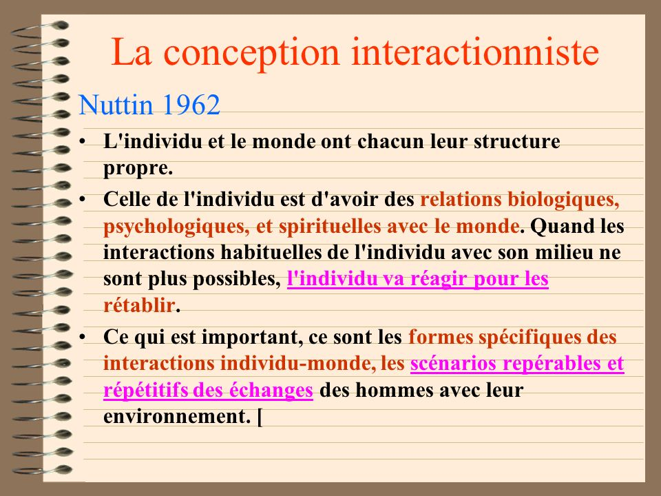 La conception interactionniste
