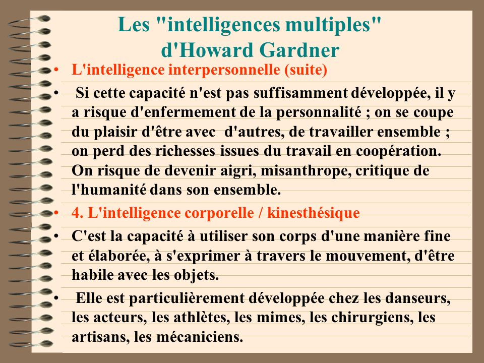 Les intelligences multiples d Howard Gardner