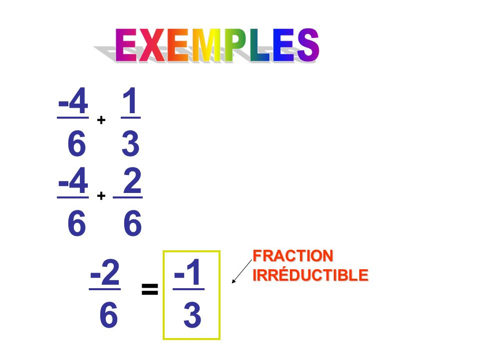 EXEMPLES FRACTION IRRÉDUCTIBLE =