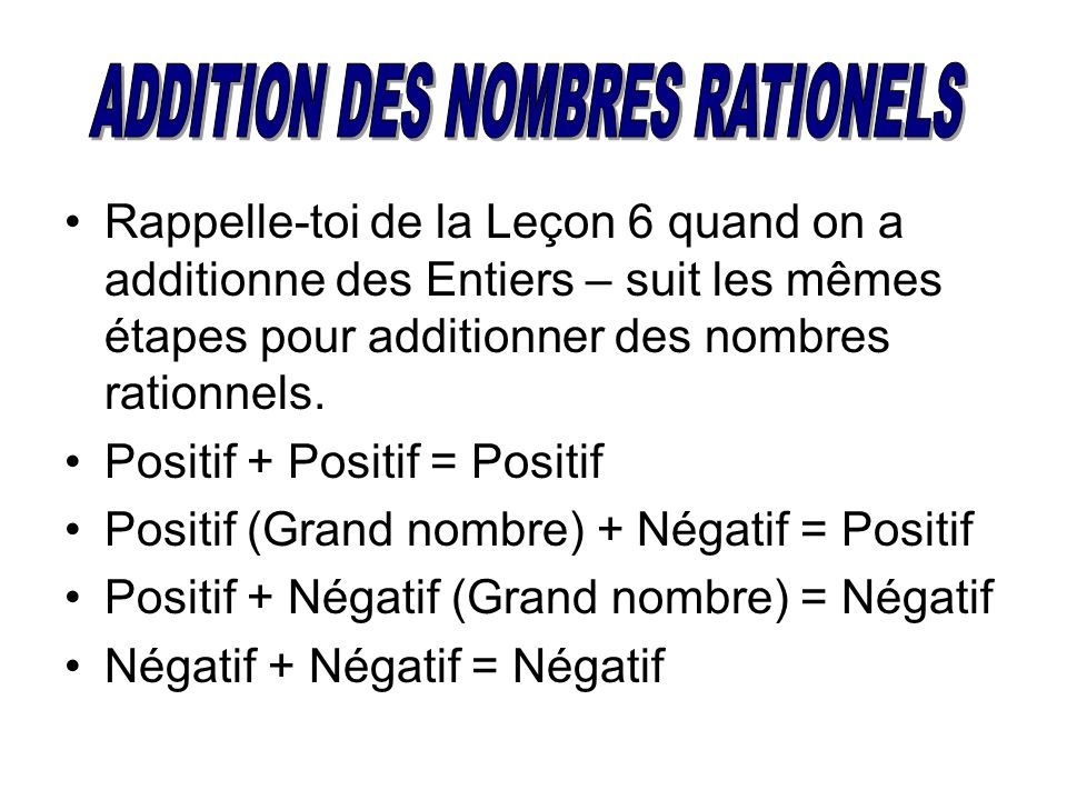 ADDITION DES NOMBRES RATIONELS
