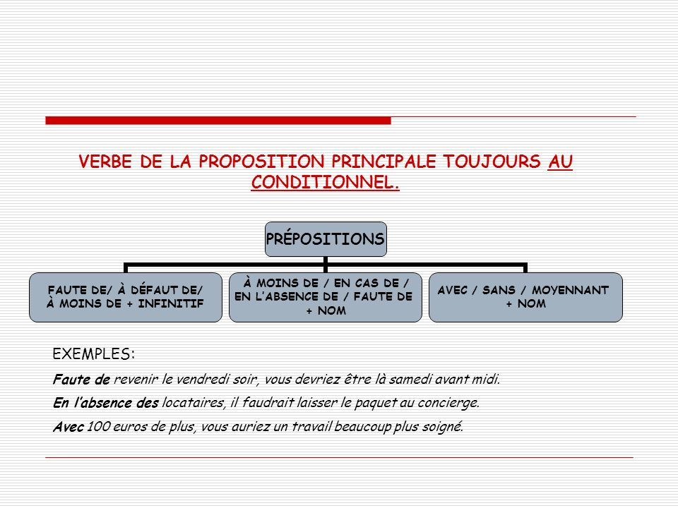 VERBE DE LA PROPOSITION PRINCIPALE TOUJOURS AU CONDITIONNEL.