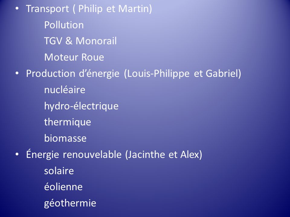 Transport ( Philip et Martin)
