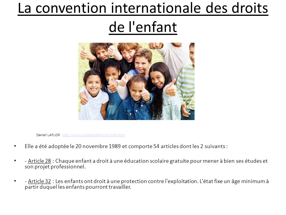 La convention internationale des droits de l enfant