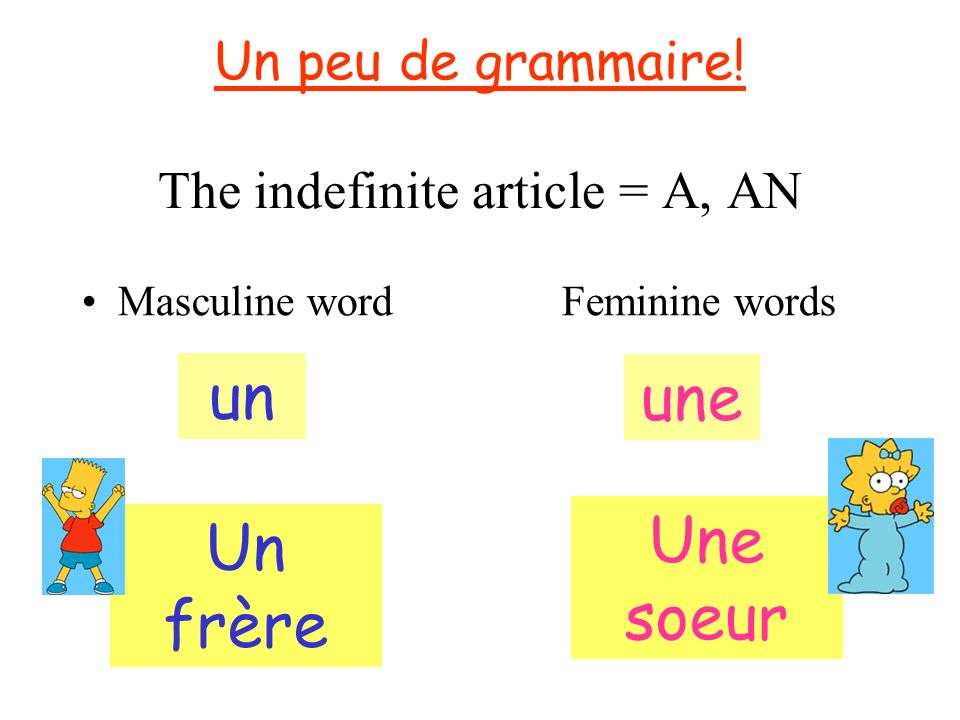 Un peu de grammaire! The indefinite article = A, AN