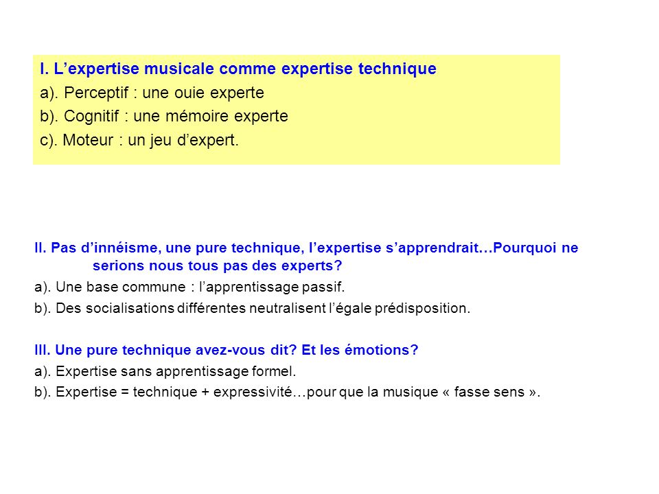 I. L'expertise musicale comme expertise technique
