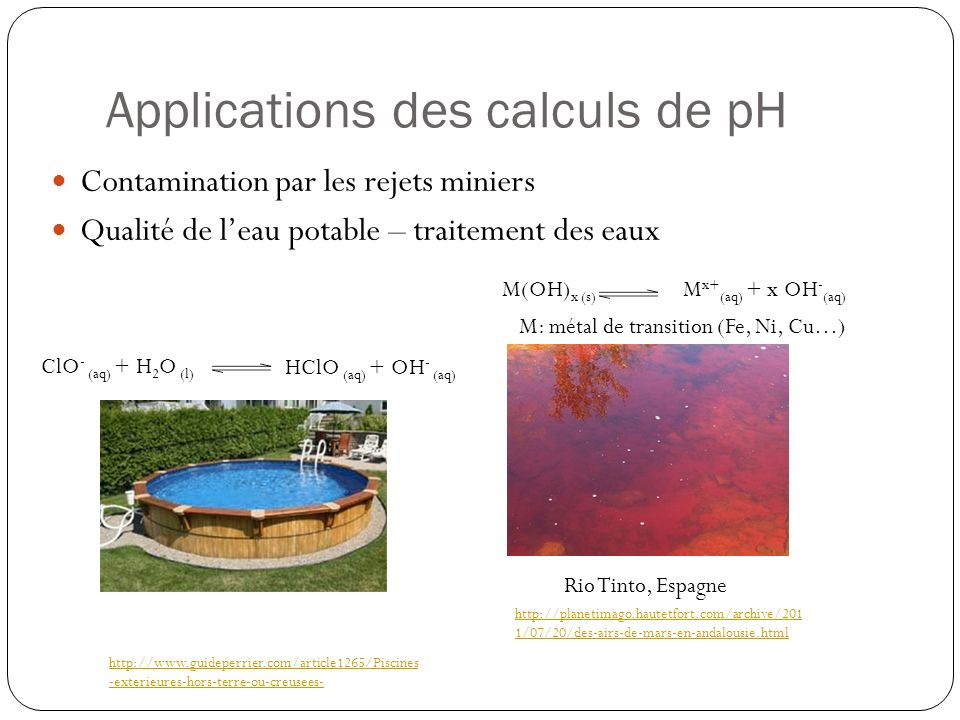 Applications des calculs de pH