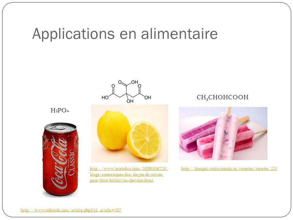 Applications en alimentaire
