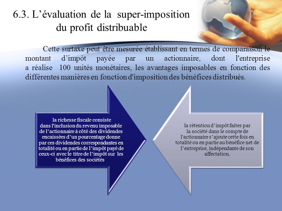 6.3. L'évaluation de la super-imposition du profit distribuable