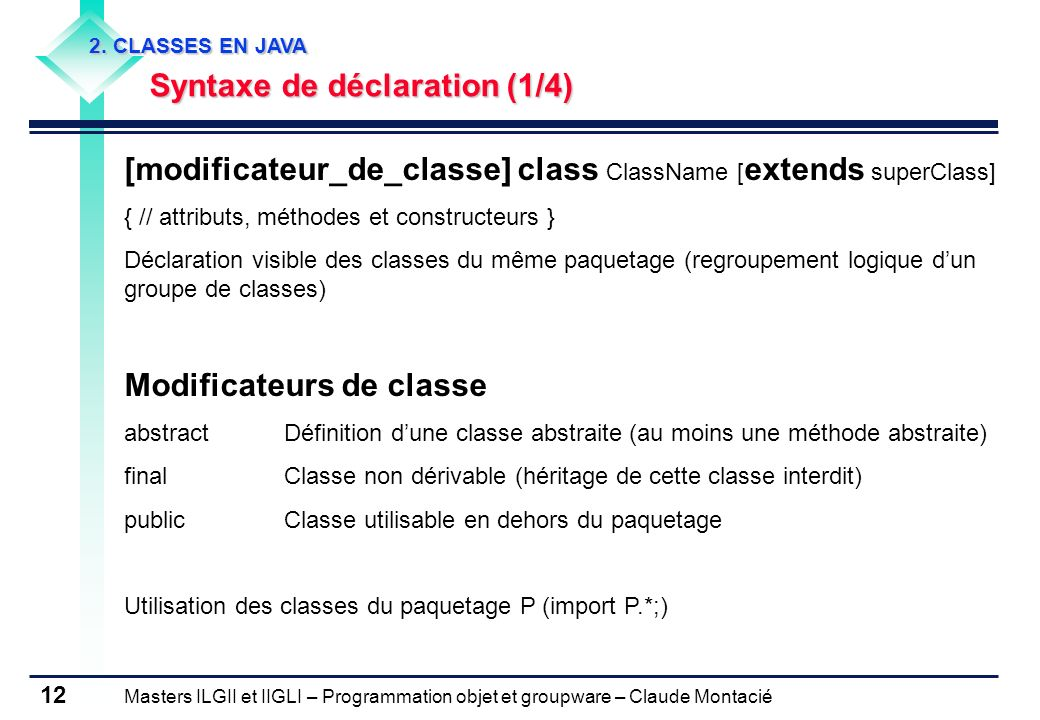 [modificateur_de_classe] class ClassName [extends superClass]