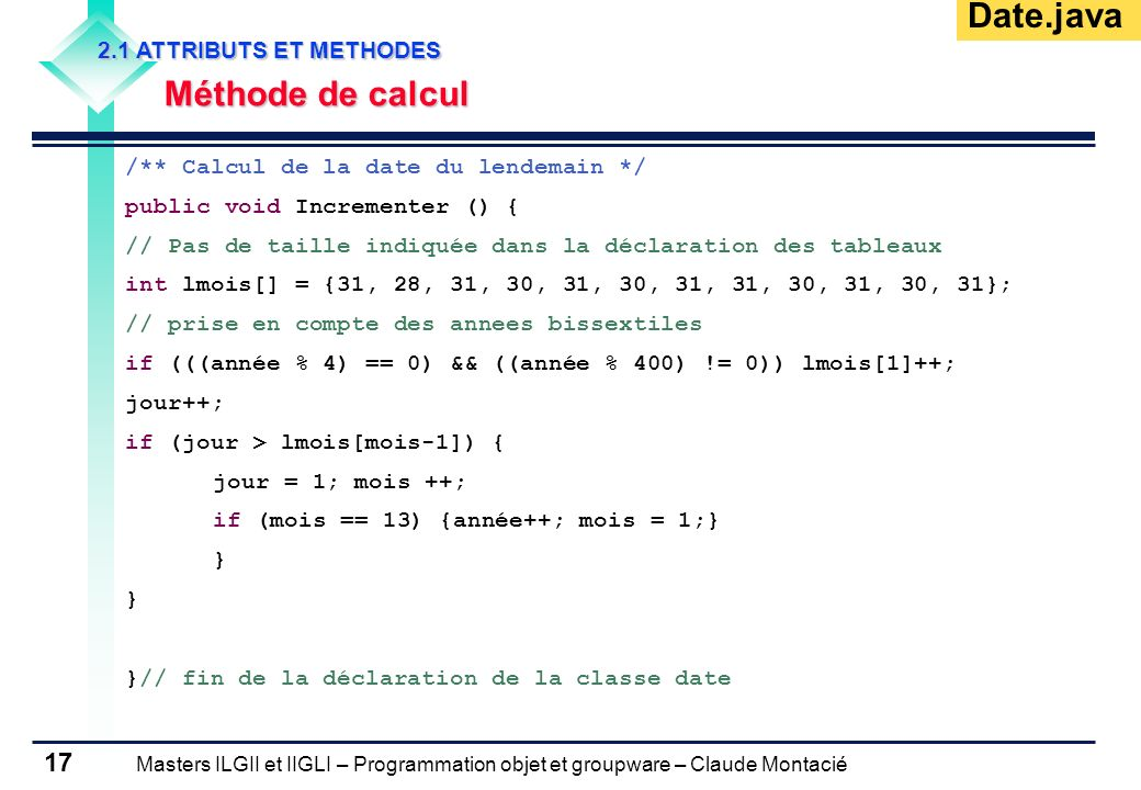 Date.java Méthode de calcul 2.1 ATTRIBUTS ET METHODES