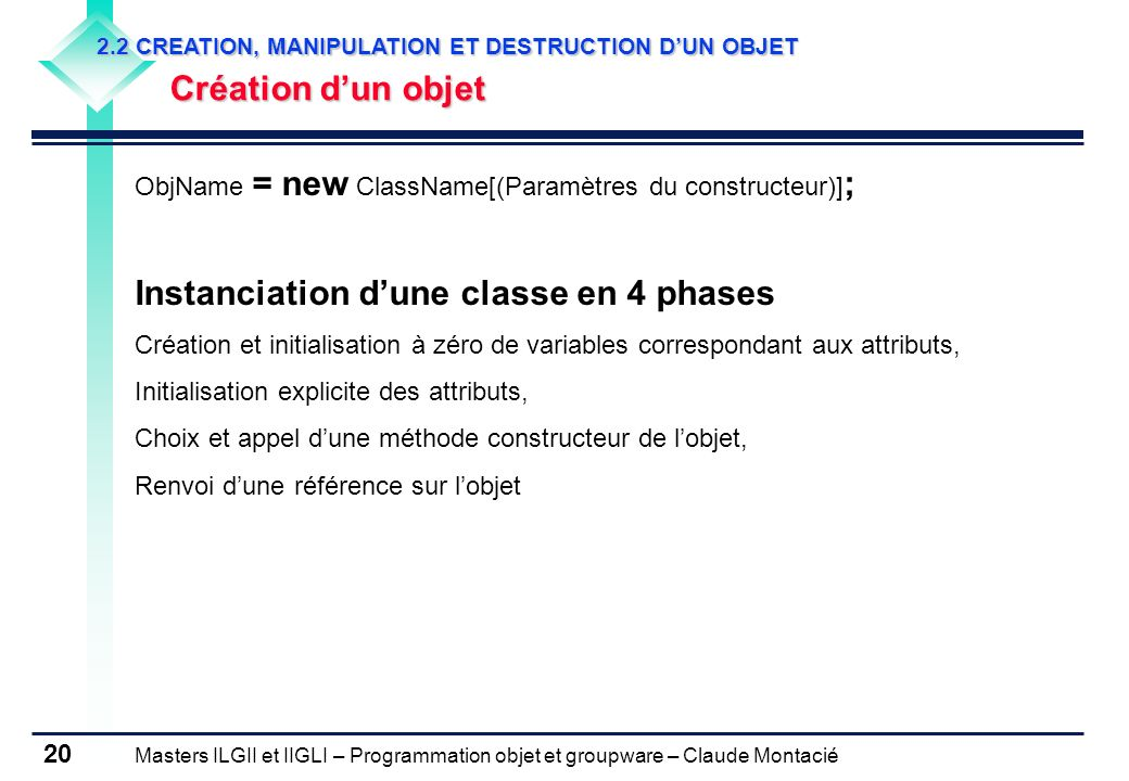 Instanciation d'une classe en 4 phases