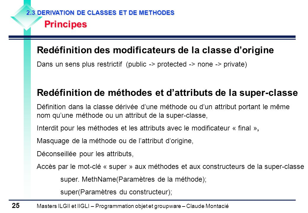 Redéfinition des modificateurs de la classe d'origine