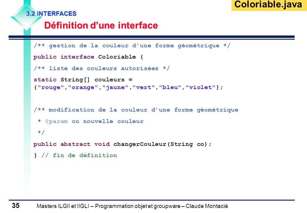 Coloriable.java Définition d'une interface 3.2 INTERFACES