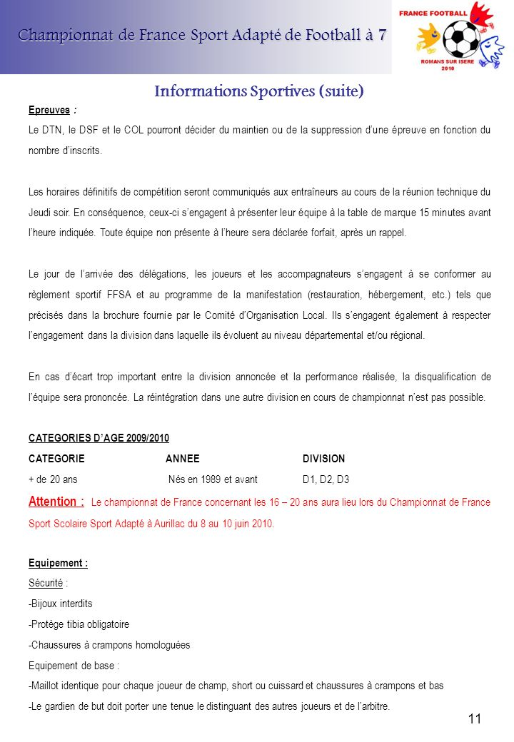 Informations Sportives (suite)