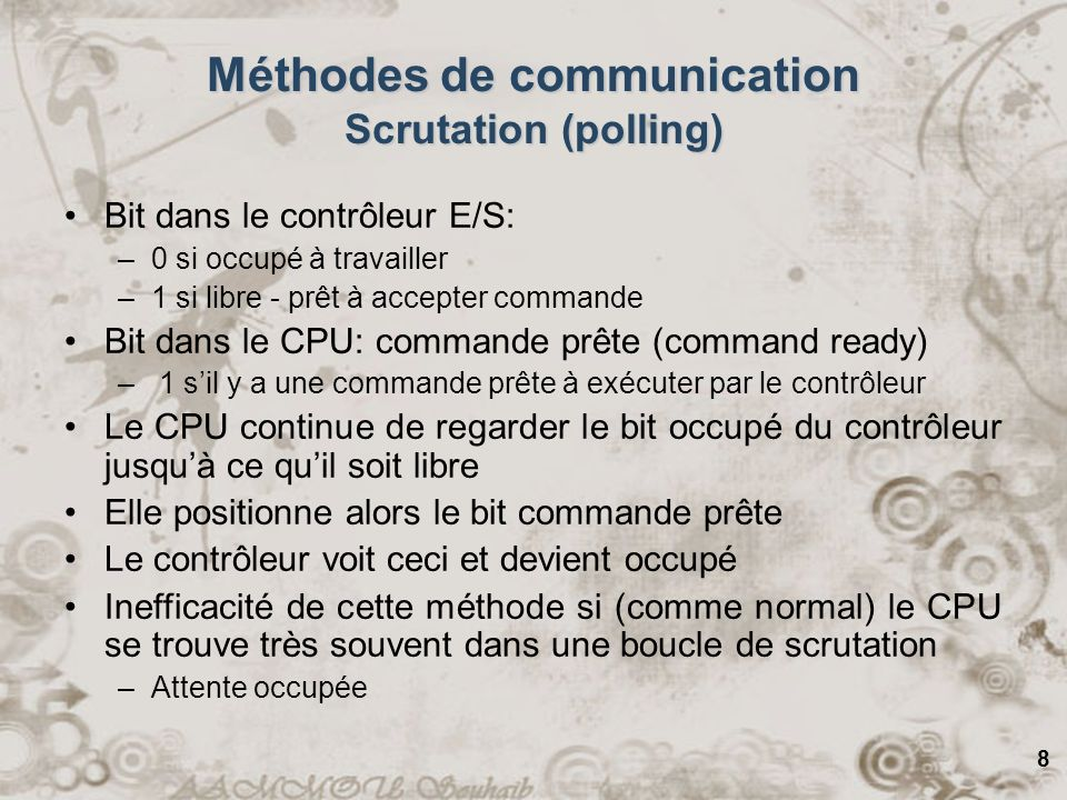 Méthodes de communication Scrutation (polling)