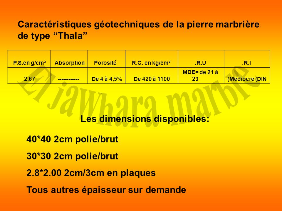 Les dimensions disponibles: