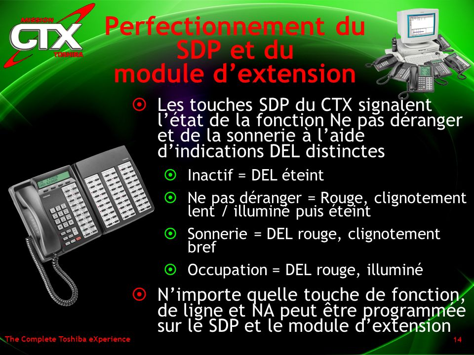 Perfectionnement du SDP et du module d'extension