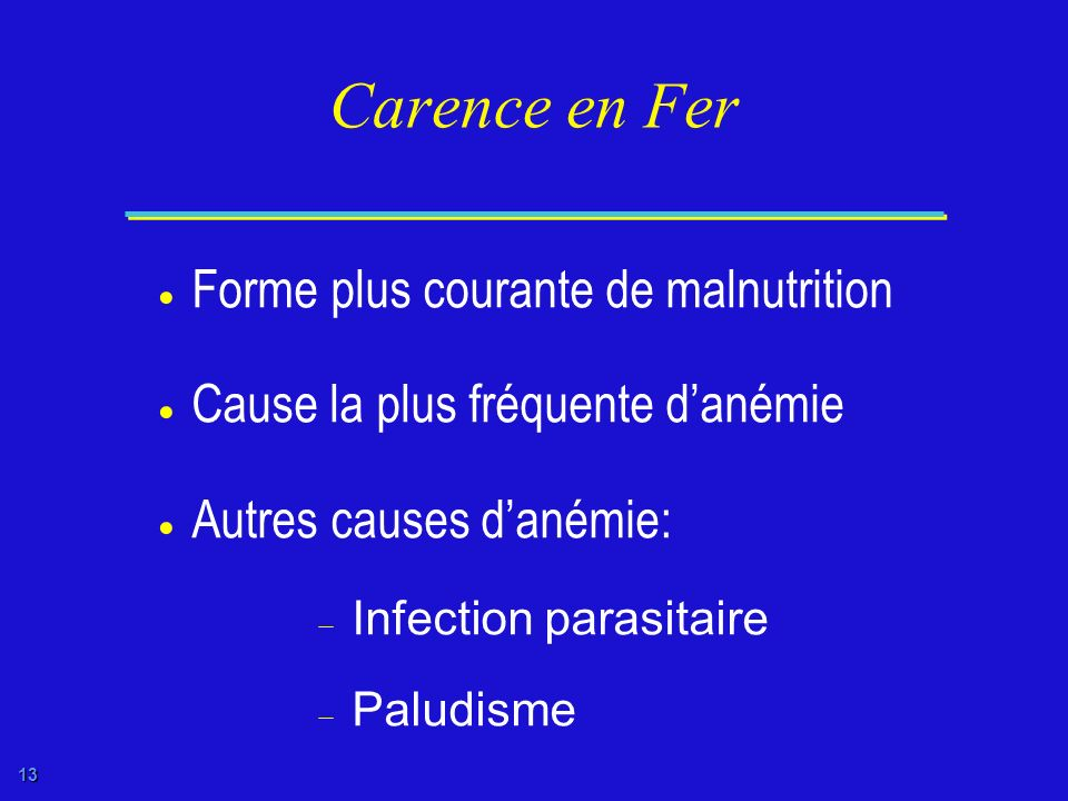 Carence en Fer Forme plus courante de malnutrition