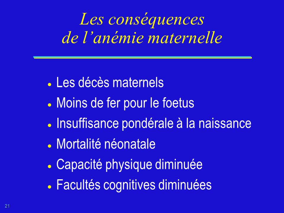 l anemie consequence