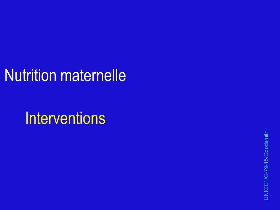 Nutrition maternelle Interventions