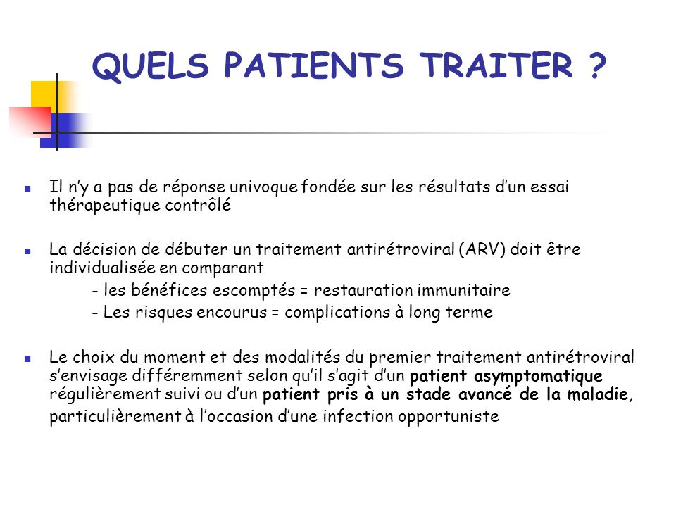 QUELS PATIENTS TRAITER