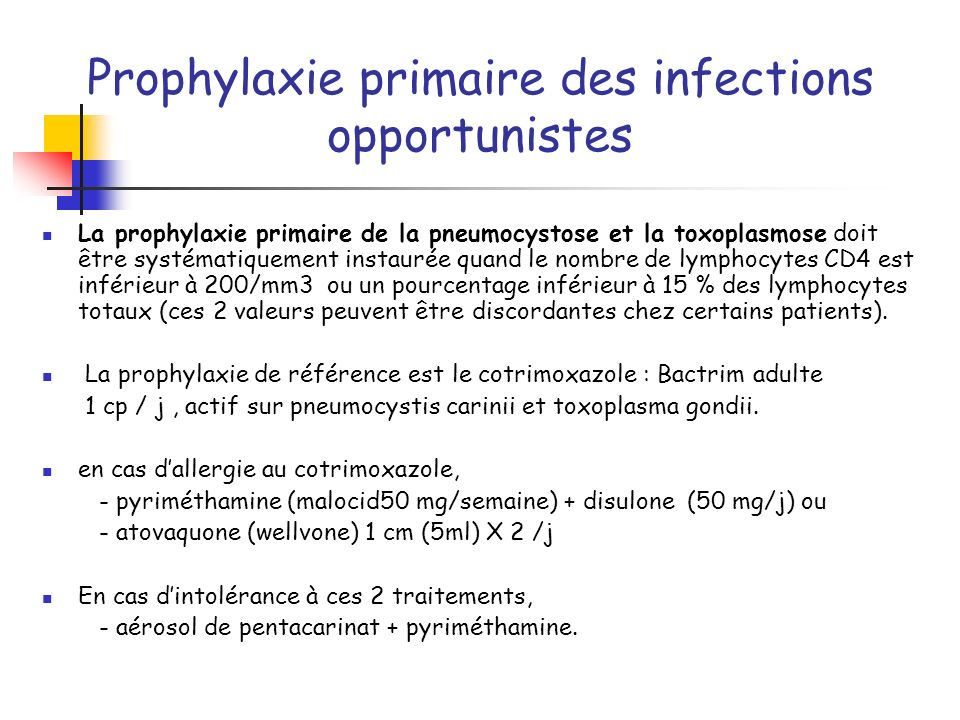 Prophylaxie primaire des infections opportunistes