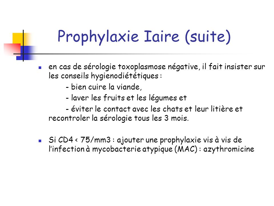 Prophylaxie Iaire (suite)