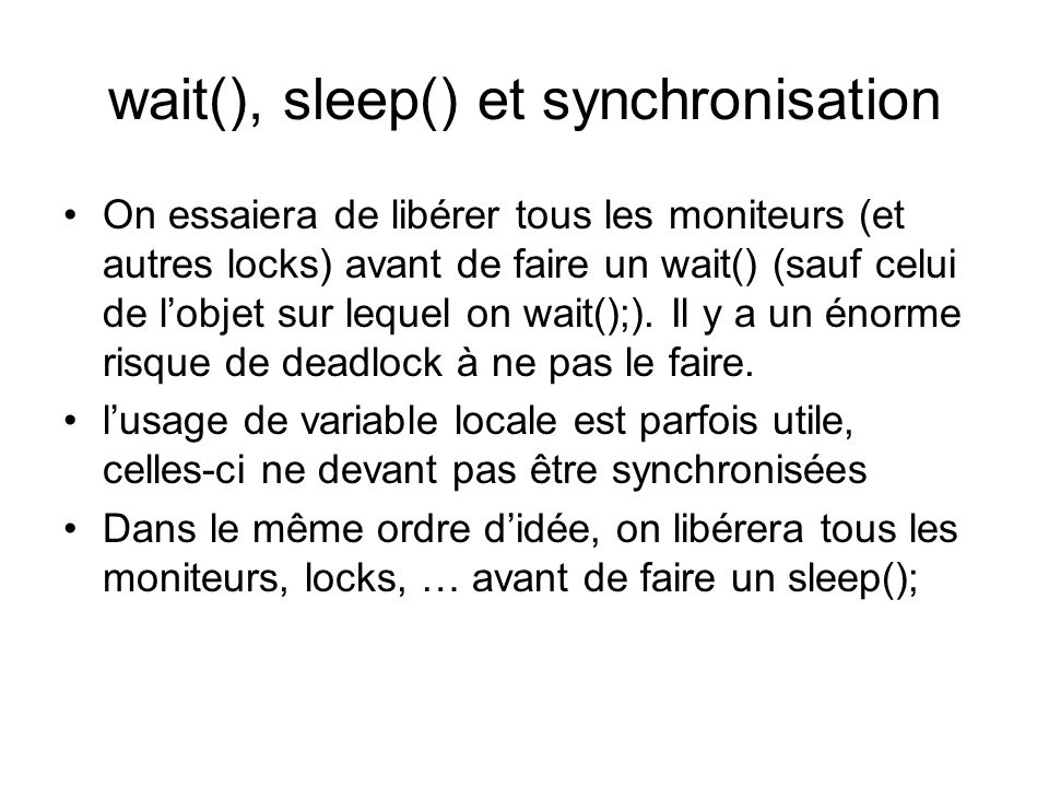 wait(), sleep() et synchronisation