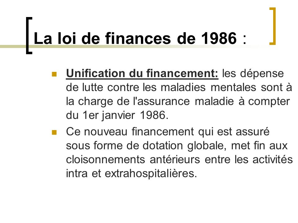 La loi de finances de 1986 :