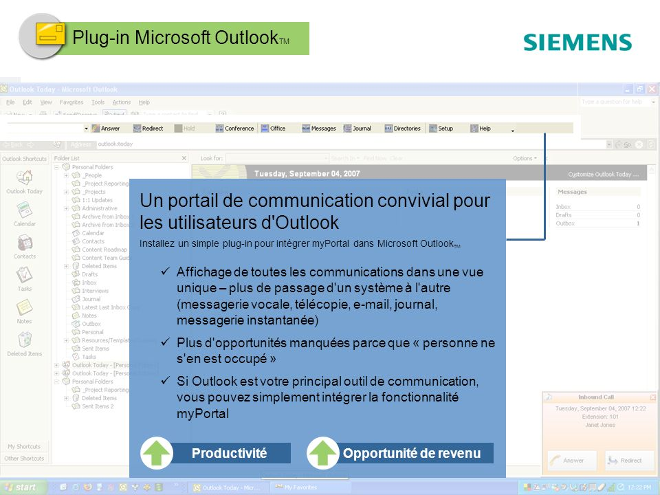 Plug-in Microsoft OutlookTM