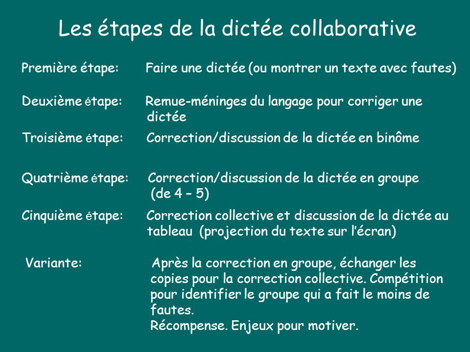 Les étapes de la dictée collaborative