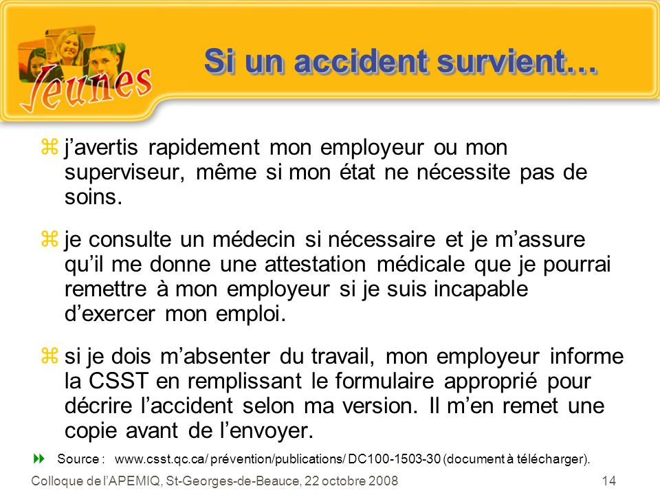Si un accident survient…