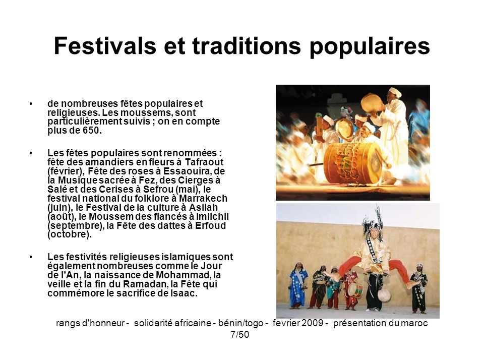Festivals et traditions populaires