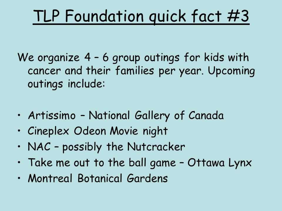 TLP Foundation quick fact #3