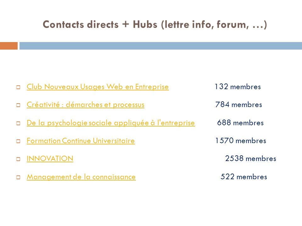 Contacts directs + Hubs (lettre info, forum, …)