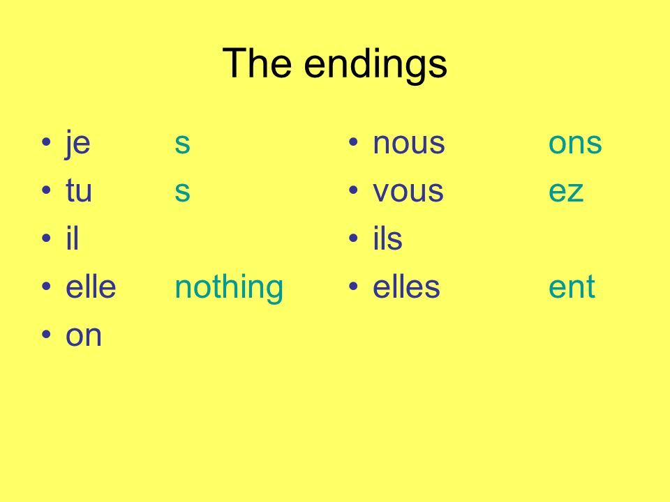 The endings je s tu s il elle nothing on nous ons vous ez ils