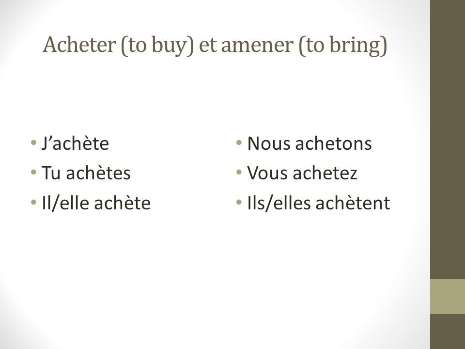 Acheter (to buy) et amener (to bring)