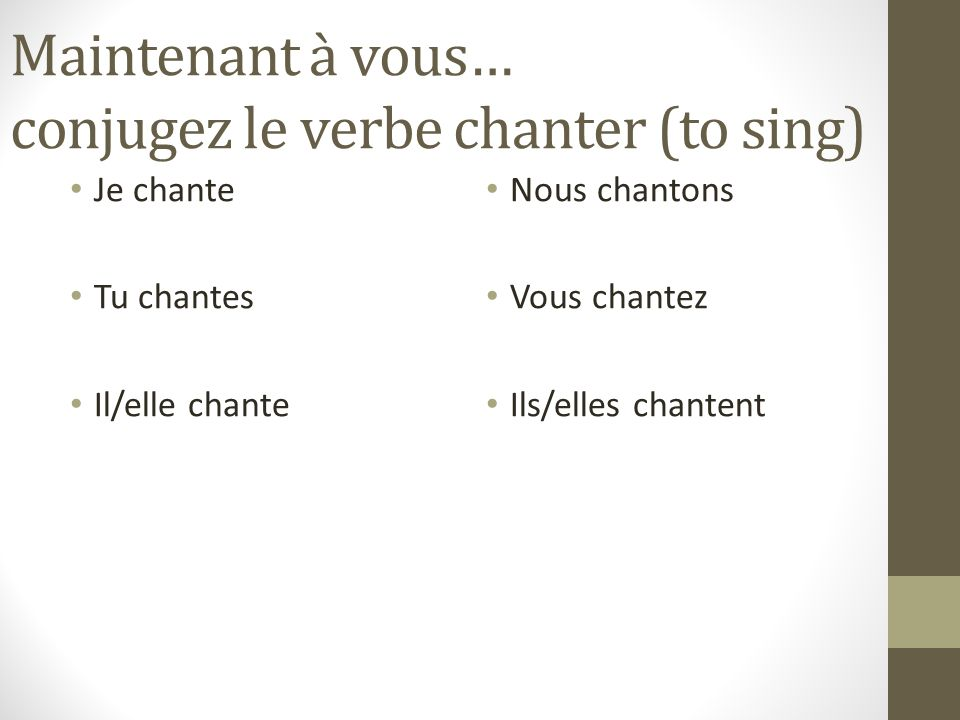Maintenant à vous… conjugez le verbe chanter (to sing)