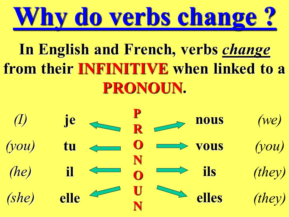 Why do verbs change In English and French, verbs change from their INFINITIVE when linked to a PRONOUN.