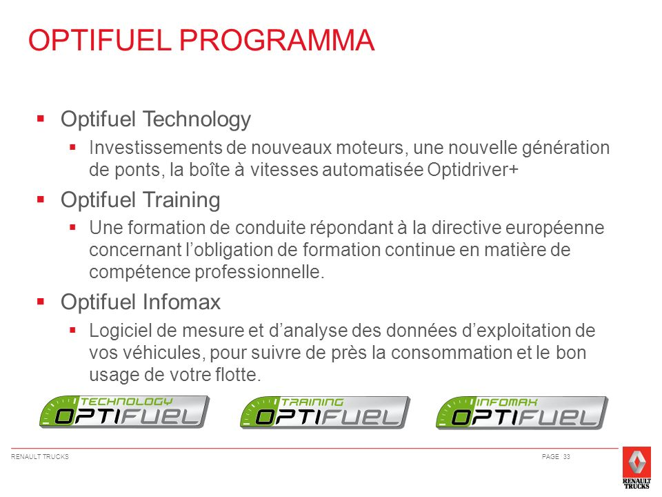OPTIFUEL PROGRAMMA Optifuel Technology Optifuel Training