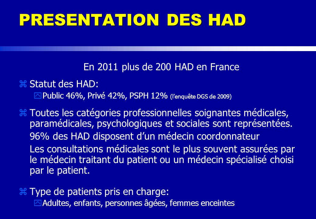PRESENTATION DES HAD En 2011 plus de 200 HAD en France Statut des HAD: