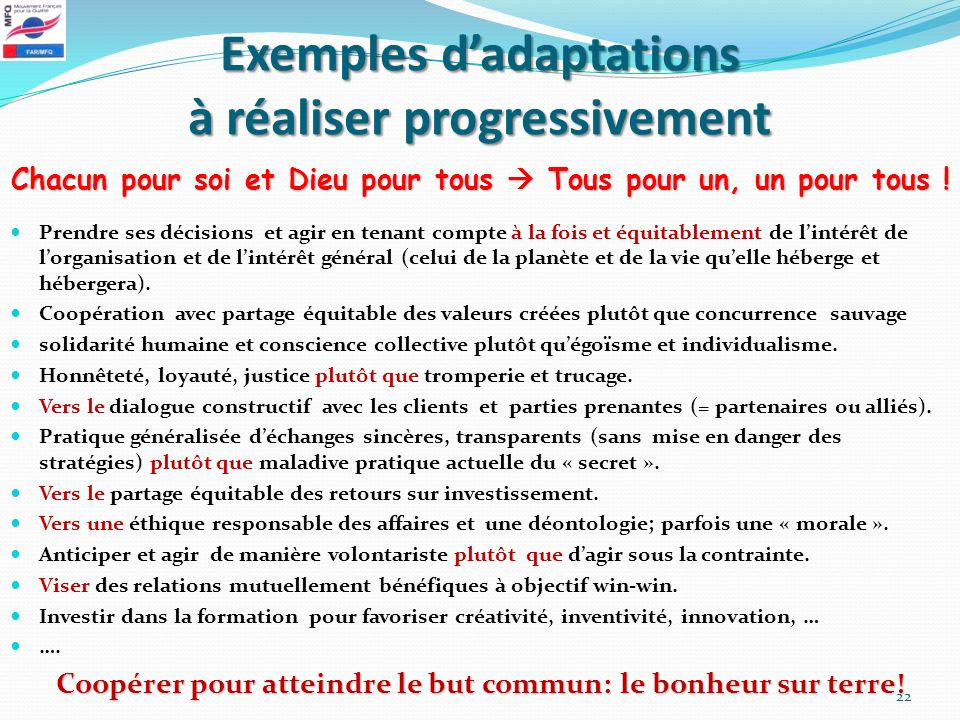 Exemples d'adaptations à réaliser progressivement