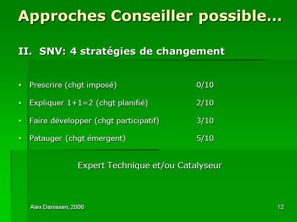 Approches Conseiller possible…