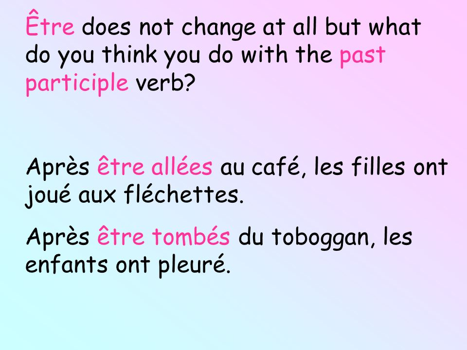 Être does not change at all but what do you think you do with the past participle verb
